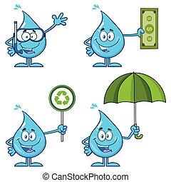 Blue Water Drop Cartoon Mascot Character 6. Vector Collection