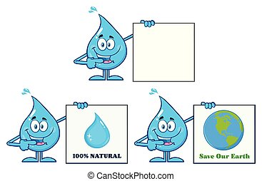 Blue Water Drop Cartoon Mascot Character 7. Vector Collection