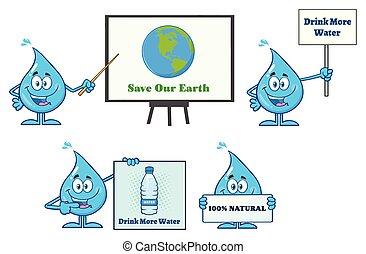 Blue Water Drop Cartoon Mascot Character 9. Vector Collection