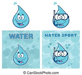 Blue Water Drop Cartoon Mascot Characters. Vector Collection