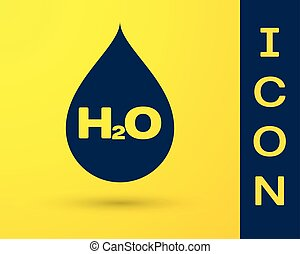 Blue Water drop with H2O icon isolated on yellow background. Water formula. Vector Illustration