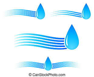 water drop with wave - blue water drop with wave and...