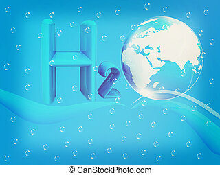 Blue water drops background and formula of water. 3D illustration. Vintage style.