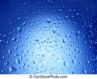 Blue Water Drops Background - Round water drops on blue...