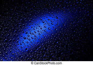 Blue Water Drops Background - Round water drops on blue ...