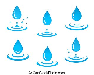 blue water drops set and splash