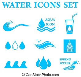 blue water icons set