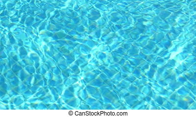 Blue water in swimming pool