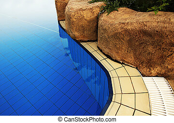 blue water in the pool background