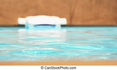 Blue Water in the Swimming Pool. Speed up.