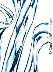 Blue water jet, splashing on a backdrop.