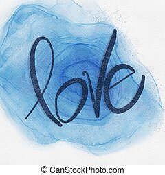 Blue water mark paint on White textured background with word love