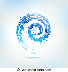 Blue Water Splash, Abstract Background, Vector Illustration