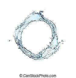 blue water splash circle isolated on white background