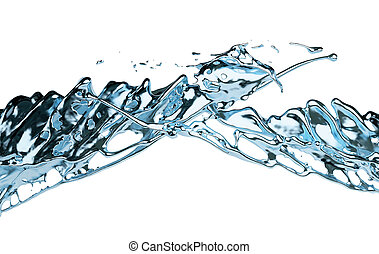 Blue water splash isolated on white background. 3d render