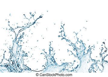 water splash - blue water splash isolated on white...
