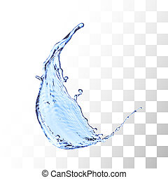 Blue water splash isolated on white
