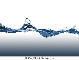 Blue water splash on a white background