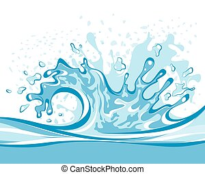 Vector illustration of a blue water splash