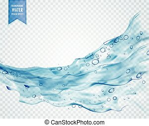 blue water splash wave with bubbles on transparent...