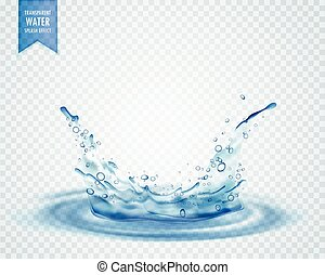 blue water splash with ripples isolated on transparent background