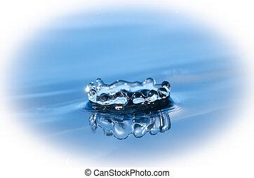 blue water splashing isolated on white background