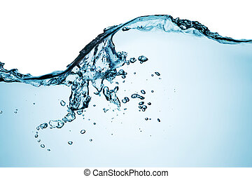 Blue water splashing on a backdrop.