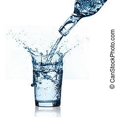 blue water splashing on glass, white background.