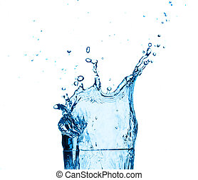 Blue water splashing on glass,white background.