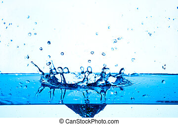 blue water splashing on white background.