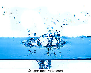 blue water splashing  white background