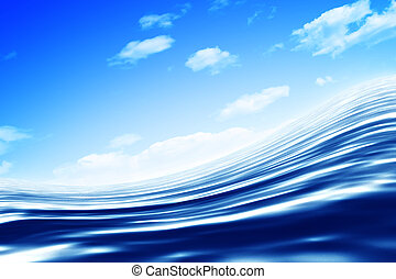 Blue water over white background. Render.