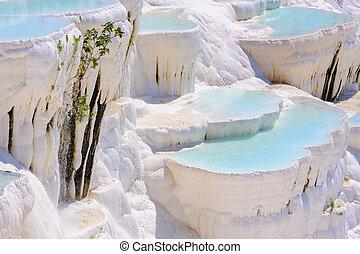 Blue water travertine pools at Pamukkale, Turkey