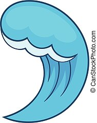 Blue water wave icon, cartoon style