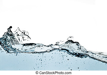 Blue Water Wave on white background. Taken in Studio with a ...