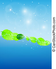 Blue water wave with fresh green leaves. Vector Illustration.
