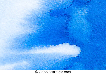 Blue watercolor abstract background on White paper texture