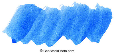 Blue watercolor abstract paint stroke on white background
