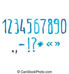 Blue watercolor aquarelle font type handwritten hand draw doodle numbers Vector illustration.