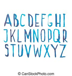Blue watercolor aquarelle font type handwritten hand draw doodle abc alphabet letters and numbers Vector illustration