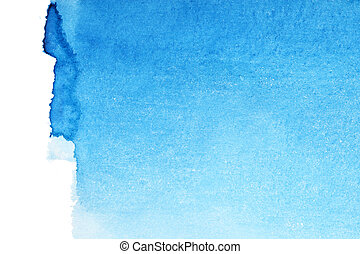 Blue watercolor background - Blue watercolor brush strokes,...
