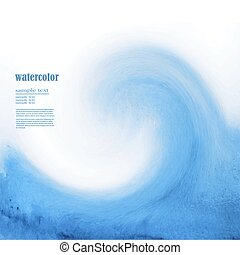 Blue watercolor background sea wave