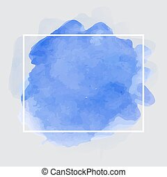 Blue watercolor background with white frame. Vector illustration