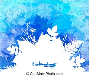 Blue watercolor background with white leaves silhouette