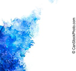 Blue watercolor blot. Beautiful crteative design.