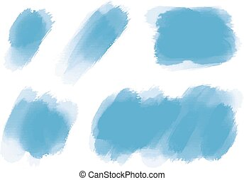 Blue watercolor brush on white background vector illustration