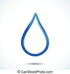 Blue watercolor brush painted ink water drop silhouette