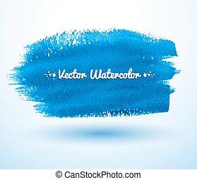 Blue watercolor brush stroke.