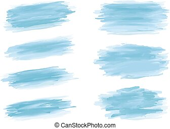 Blue watercolor brush stroke on white background vector illustration