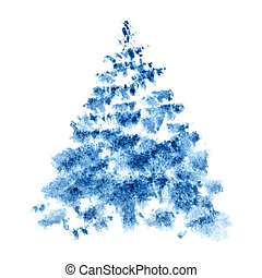 Blue watercolor Christmas tree isolated on the white...